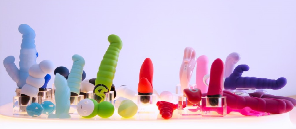 Many colorful sex toys